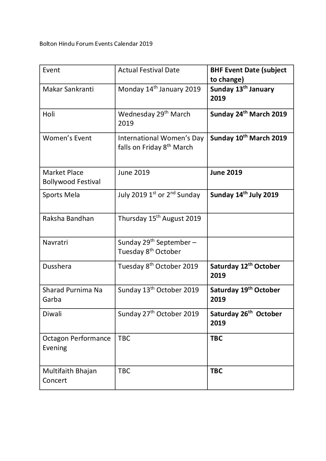 Forthcoming Events – Bolton Hindu Forum